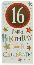 """Money Wallet Gift Card & Envelope - 16th Birthday With Gold Foil 7x3.5"""""""