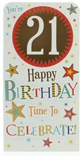 """Money Wallet Gift Card & Envelope - 21st Birthday With Gold Foil 7x3.5"""""""