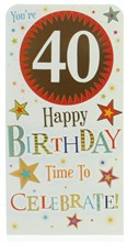 """Money Wallet Gift Card & Envelope - 40th Birthday With Gold Foil 7x3.5"""""""