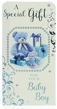 """Money Wallet Gift Card & Envelope - New Baby Boy With Blue Foil  7x3.5"""""""