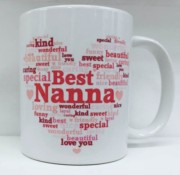 Best Nanna Heart Personalised White 11oz Mug - Birthday, Mother's Day