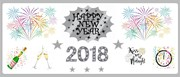 Silver Happy New Year Personalised Landscape Party Banner - Add Your Own Message