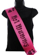 Hot Pink Mother's Day Party Satin Ribbon Sash - No 1 Mummy Black Hearts