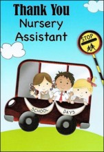 """Thank You Nursery Assistant Greetings Card - Children On School Bus 7.5"""" x 5.25"""""""