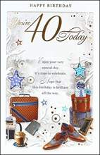 """Age 40 Male Birthday Card - 40 Today Brown Briefcase, Coffee & Shoes 10.75"""" x 7"""""""