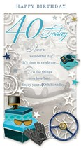 "Age 40 Male Birthday Card - 40 Today Steering Wheel, Gloves & Keys 9"" x 4.75"""