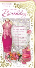 "Open Female Birthday Card - Pink Dress, High Heels & Bright Flowers 9"" x 4.75"""