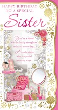 """Sister Birthday Card - Pink High Heels, Mobile Phone, Make Up & Roses 9"""" x 4.75"""""""