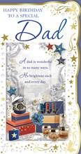 "Dad Birthday Card - Wine Bottles, Whiskey, Watch, Gift Boxes & Stars 9"" x 4.75"""
