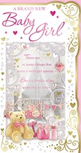 """Birth Of Baby Girl Greetings Card - Pink Teddy, Gift, Bottle & Toys 9"""" x 4.75"""""""