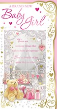 """Birth Of Baby Girl Greetings Card -A Teddy & Baby Gifts With Gold Foil  9""""x4.75"""""""