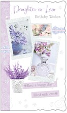 """Daughter-in-Law Birthday Card - Lilac Flowers and Perfume with Glitter 9x5.25"""""""