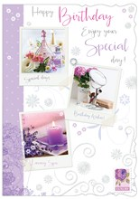 """Open Female Birthday Card - Perfume Candle & Mirror With Glitter 7.75x5.25"""""""
