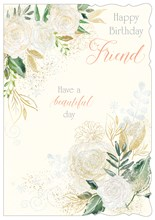 """Special Friend Birthday Card - Roses With Leaves & Glitter  7.75""""x5.25"""""""