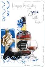 "Son Birthday Card - Rum Bottle, Glass, Present, Watch & Blue Streamers 9"" x 6"""