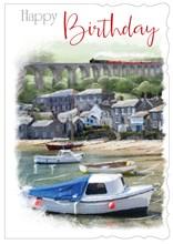 "Open Male Birthday Card - Seaside Scene with Boats & Steam Train  7.75"" x 5.25"""