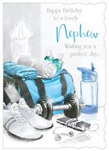 "Nephew Birthday Card - Gym Bag Trainers & Bottle With Glitter 7.75x5.25"""