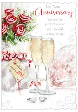 """Open Wedding Anniversary Card - Champagne Flutes Roses with Glitter 7.75""""x5.25"""""""