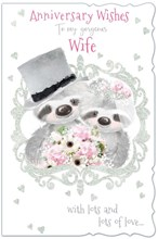 "Wife Wedding Anniversary Card - Cute Bride & Groom Bears with Glitter 9"" x 6"""