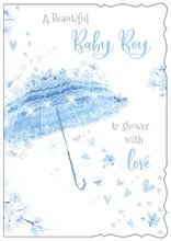 "Birth Of Baby Boy Greetings Card Blue Umbrella Flowers Hearts Glitter 7.75x5.25"""