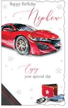 """Nephew Birthday Card - Red Sports Car With Keys & Wallet 9"""" x 5.25"""""""