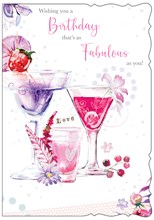 """Open Female Birthday Card - Purple and Pink Cocktails with Glitter 7.75"""" x 5.25"""""""