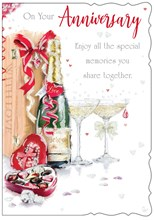 """Open Wedding Anniversary Card - Champagne Chocolates With Glitter  7.75"""" x 5.25"""""""
