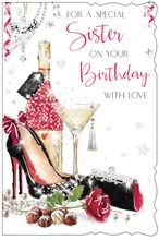 """Sister Birthday Card - Champagne Heels Bag Rose & Chocolates with Glitter 9""""x6"""""""