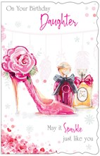 "Daughter Birthday Card - Pink High Heel Flowers Perfume and Glitter 10.75x6.75"""