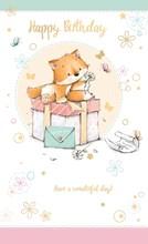 """Open Female Birthday Card - Little Fox, Pink Gift Box & Butterflies 9"""" x 5.25"""""""