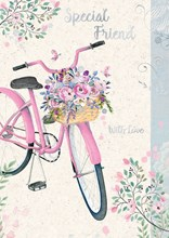 """Special Friend Birthday Card - Pink Bicycle, Flowers & Butterflies 7.75"""" x 5.25"""""""