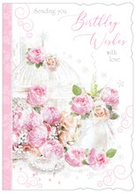 """Open Female Birthday Card with Glitter - Pale Pink & Peach Flowers 7.75"""" x 5.25"""""""
