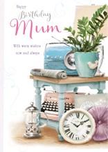 "Mum Birthday Card - Retro Blue Radio, Typewriter, Clock & Cafetiere 9.5"" x 6.75"""