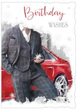 """Open Male Birthday Card - Man in Suit next to Red Sports Car 7.75"""" x 5.25"""""""