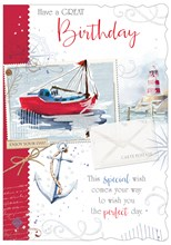 """Open Male Birthday Card - Seaside Boat, Lighthouse & Anchor 7.75""""x5.25"""""""