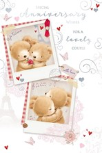 """Open Wedding Anniversary Card - Bears, Red Rose, Music Notes & Hearts 9"""" x 6"""""""