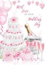 "Wedding Day Greetings Card - Wedding Cake, Champagne & Pink Roses 7.75"" x 5.25"""