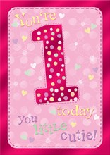 "Age 1 Girl Birthday Card - Pink Border, Hearts & Flower Outlines 7.75"" x 5.25"""