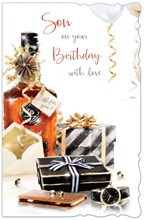 """Son Birthday Card - Whiskey Bottle, Mobile Phone, Watch & Presents 10.75"""" x 7"""""""