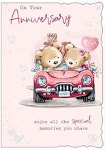 """Open Anniversary Card - Bears in Car with Gifts Balloon & Glitter 7.5"""" x 5.25"""""""