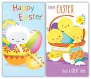Pack Of 6 Easter Greetings Cards - 2 Designs - Cute Chicks Lamb & Eggs