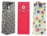 "Set Of 3 Bottle Unisex Gift Bags - Pink Birthday, Stars & Geometric 14"" x 5"""