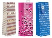 "Set Of 3 Bottle Unisex Gift Bags - Blue Birthday, Pink Glitter & Stripes 14 x 5"""