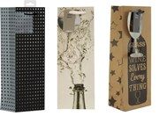 """Set Of 3 Bottle Male Gift Bags - Squares, Wine Glass & Flowing Bottle  14"""" x 5"""""""