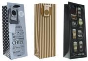 "Set Of 3 Bottle Male Gift Bags - Gold Stripes, Word Bottle & Beer Types 14"" x 5"""