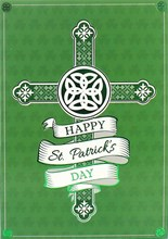"""Happy St Patrick's Day Greetings Card - Cross with Green foil Detail  7.5x5.25"""""""