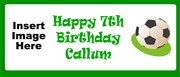 Personalised Landscape Party Banner - Green Football - Add Your Own Photo & Text