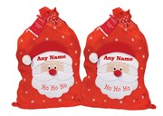 """Set Of 2 Giant Children's Personalised Felt Christmas Santa Sacks 30"""" x 18.5"""""""