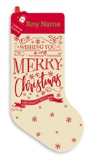 """Personalised 20"""" Christmas Stocking - Any Name - Modern Red Brown Calico"""