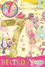 """Great Granddaughter 7th Birthday Card & Badge - Girl with Ice cream & Foil 9x6"""""""